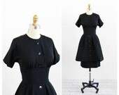 vintage 1950s dress / 50s black dress / Black Double Skirt Cocktail Dress with Buttons
