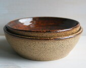 Spotted Stoneware Bowls - Pair of Natural Raw Stone Shallow Ceramic Bowls - Two Rustic Brown Speckled Pottery Dishes