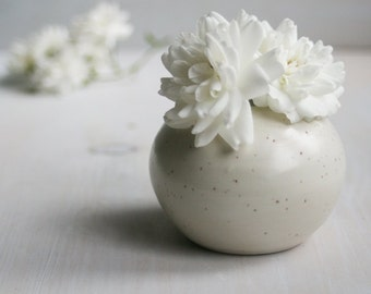Small Round Vase Simple Ceramic Specked Vase Handmade Stoneware Vase White Pottery Ready to Ship Made in USA
