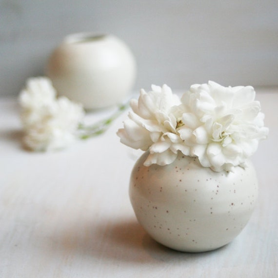 White Vases - Pair of Simple White Ceramic Specked Vases - Handmade Small Stoneware Vases - White Pottery