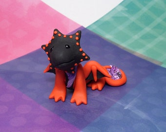 Handmade Polymer Clay Mini Red and Black Dragon Figurine with Purple stone matching Purple clay Scarf beaded eyes