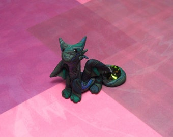 Handmade Polymer Clay Green mixed Mini Dragon Figurine with Swarovski crystal held by tail