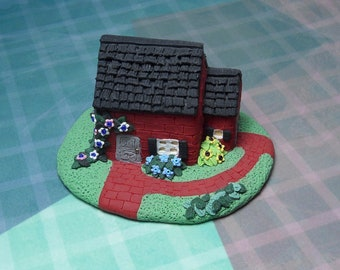 Handmade Polymer clay Mini Red brick House with bushes and beaded flowers