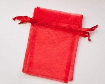 100 Organza Bags, 5x8 inch, red organza bags