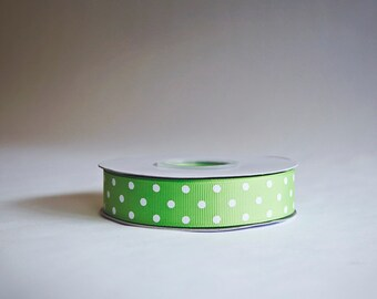 Polka Dot Grosgrain Ribbon, 25 yds. on the spool, Light Lime Apple Green, Choice of 3 sizes, 3/8ths, 5/8th, or 7/8ths