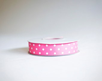 Polka Dot Grosgrain Ribbon, 25 yds. on the spool, Bright Pink, choose from 3 widths, 3/8ths, 5/8ths, or 7/8ths