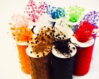 Polka Dot Tulle Spool, DIY Wedding, 6 inches wide, 25 yards, You Choose the Color