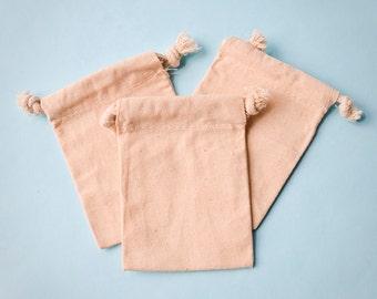 100 Muslin Bags 3x4, Natural Drawstring Sack, Rustic Gift Bag Wedding Favor