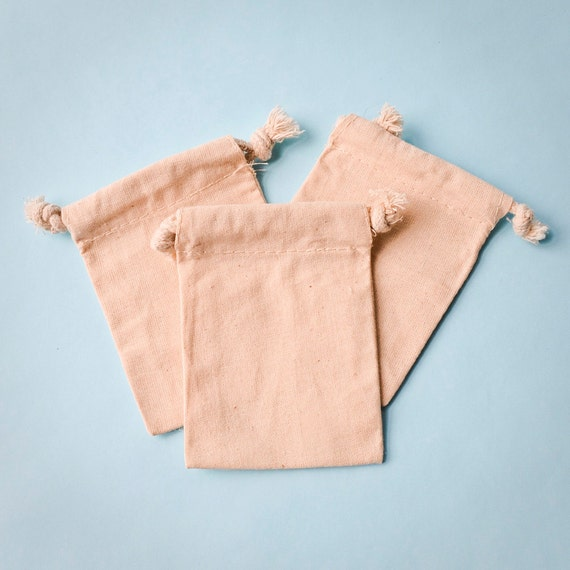50 Cotton Muslin Drawstring Bags, 3x4 Natural Drawstring Sack, Rustic Natural Wedding Favor