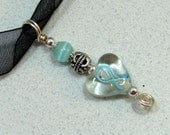 Cancer Awareness Teal Ribbon Clear Heart Beaded Glass Pendant