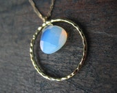 PEACE of MIND II -Radiant Glowing Faceted Sea Opal encircled in Gold Hammered Ring Zen Pendant everyday