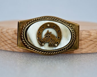 Vintage Collector Horse Head HorseShoe Gold Marble Stone Western Belt Buckle