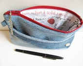 Small Denim Bag Unisex Gadget Bag Pencil Pouch Blue and Red Remember Reminder Lining