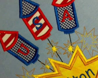 Boys Fourth 4th of July shirt Firework Custom Personalized shirt  Appliqued Embroidered
