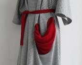 Oversized Kimono Dress - Maternity Plus Size - OSFA - Adjustable with Belt - Fancy Collar Quirky Pocket - Checked - Light Gray White Red