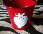 Strawberry- Children's Party Favor Buckets/ Treat Bag with Your Choice of Logo, Style 1