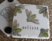 Personalized Bee Absorbent Tile Coasters - natural history home decor - Set of 4