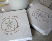 Personalized Sand Dollar Tile Coasters - Beach Home Decor - Set of 4