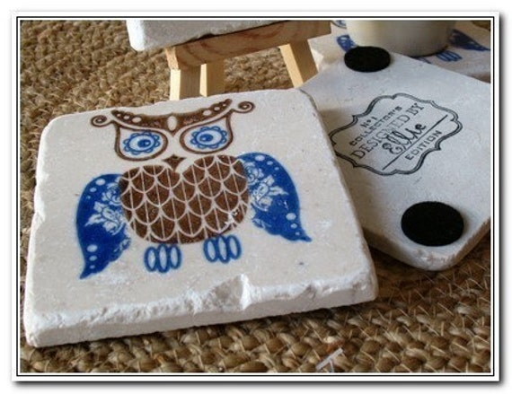 Royal Blue Owl Tile Coasters - Owl Home Decor - Set of 4 - Ready to Ship