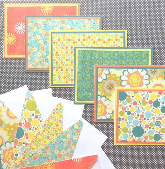 Notecard Set: 6 Different Blank Notecards with Matching Embellished Envelopes - Hello Sunshine