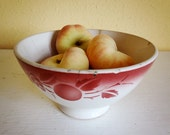 SALE vintage cafe au lait bowl from France, white with red, XL with some repairs