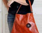 LAST ONE - Leather Tote Bag  - Handbag  - Dark Brown Poppy and Stitching on Distressed Orange Spice