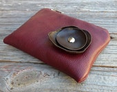 SALE - Leather Pouch Small - Chestnut Poppy on Burgundy