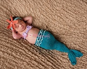 Turquoise Newborn Mermaid Baby Costume, 0-3 month Mermaid Halloween Costume