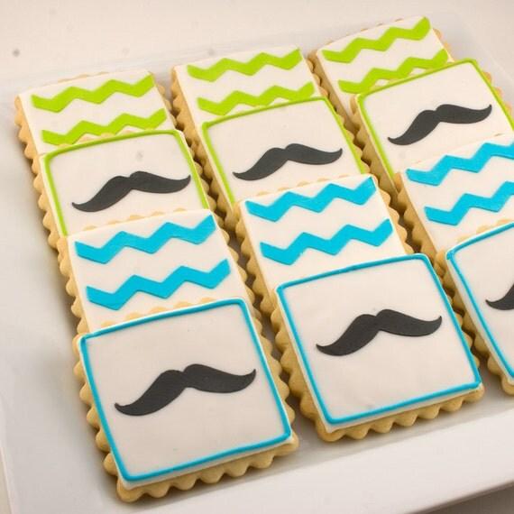 Mustache Cookies and/or Chevron Stripe Cookies (12 cookies per order)