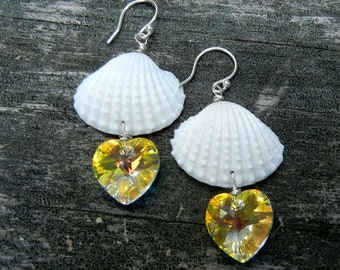 Seashell Earrings - Mermaid Golden Hearts Seashell Earrings