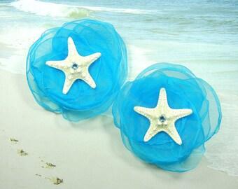 Starfish Flower Shoe Clips - Elegant Stars - Turquoise Cloud Crystal