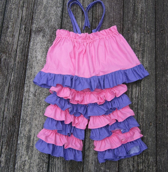 Ruffled Back Capris and Top for Little Girl Size 3 to 4