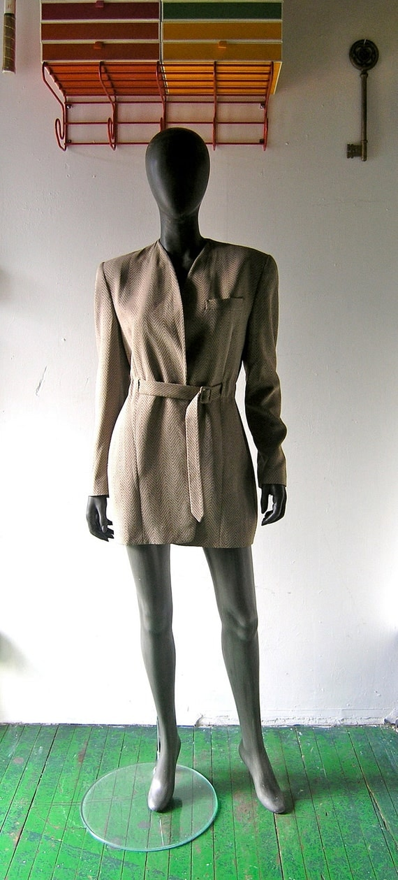Reserved - Giorgio Armani spring jacket taupe herringbone size 10 - made in Italy - designer 1980s fashion - modern classic