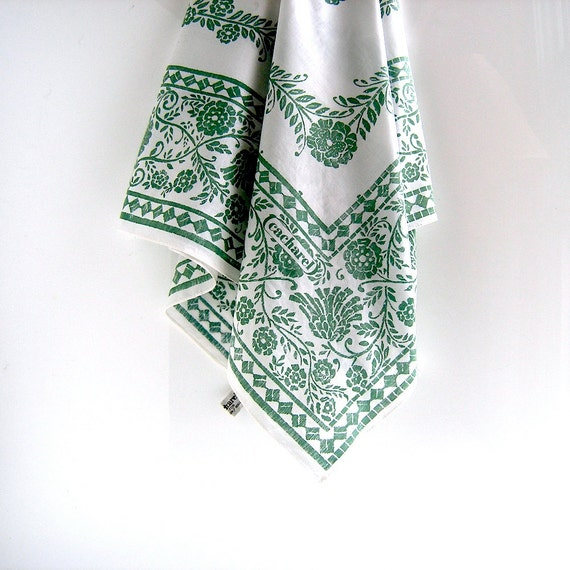 Cacharel cotton print scarf - large India cotton batik print - Nantucket chic - pareo size - green and white