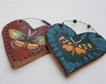 ceramic pottery  tile stoneware clay ornamental home decor set of two heart tiles