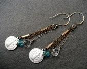 STRENGTH-handmade vintage medal earrings