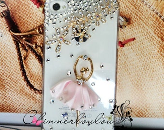 Clear apple iphone  5, 6, 7 case, swarovski crystal rhinestone, flower rhinestone Ballet Girl, US shipping