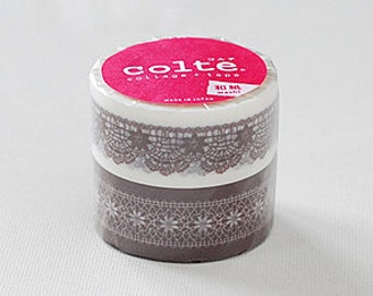 Colte Washi Masking Tape - Lace Brown - Wide Set 2