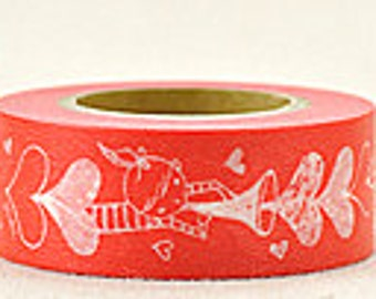 Delfonics Washi Masking Tape - Red Heart Trumpet  - Wide - Snih