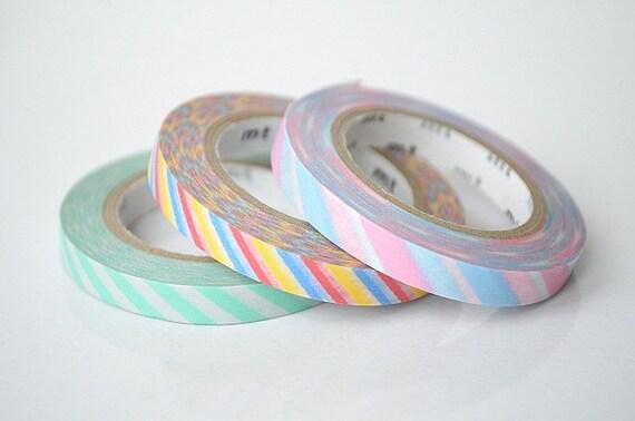 mt Washi Masking Tape - Twist Cord - Slim - Set 3 - A