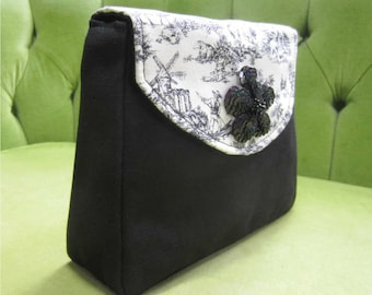 Lightweight Handbag or Purse in Canvas and Black/White Toille Fabric