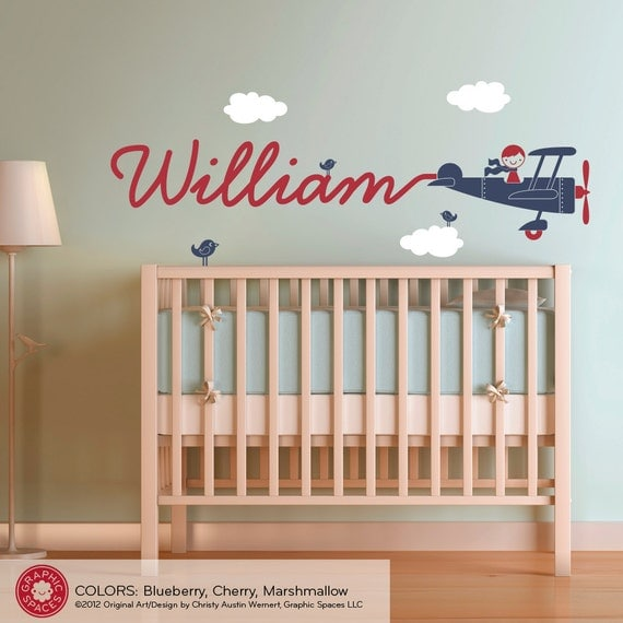 Airplane nursery wall art decal boy skywriter by graphicspaces Vintage airplane decor for nursery