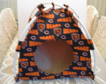 Large Handmade Chicago Bears Pup Tent Pet Bed For Cats / Dogs / Ferrets / Piggies Or Used For A Toy Box / Barbie Doll House