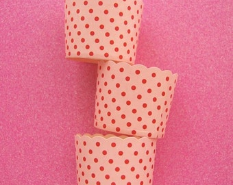Baking Cups in Light Pink and Hot Pink Polka Dots (24)