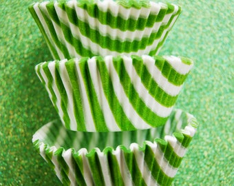 Lime Green Candy Stripe Cupcake Liners (50)