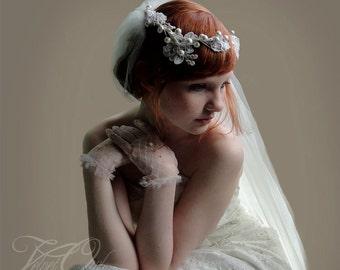 Bridal veil, bridal crown, tulle veil, veil set, halo pearl silk wrapped wreath alencon lace and pearls - LAETICIA