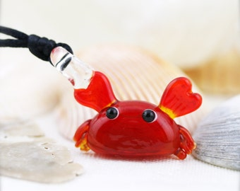 Baby lampwork crab in satin cord necklace (LW)