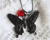 Stunning Black Butterfly Pendant with Red Swarovski Crystal Heart