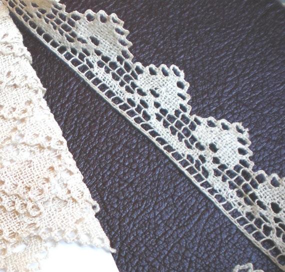 4 Yards Vintage Ecru Cotton Filet Lace Trim