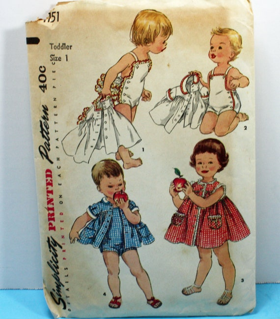 Vintage 1950s, Sewing Pattern, Simplicity 1151, Toddler's Size 1, Playsuit, One-Piece Dress and Jacket, Brother and Sister Fashions